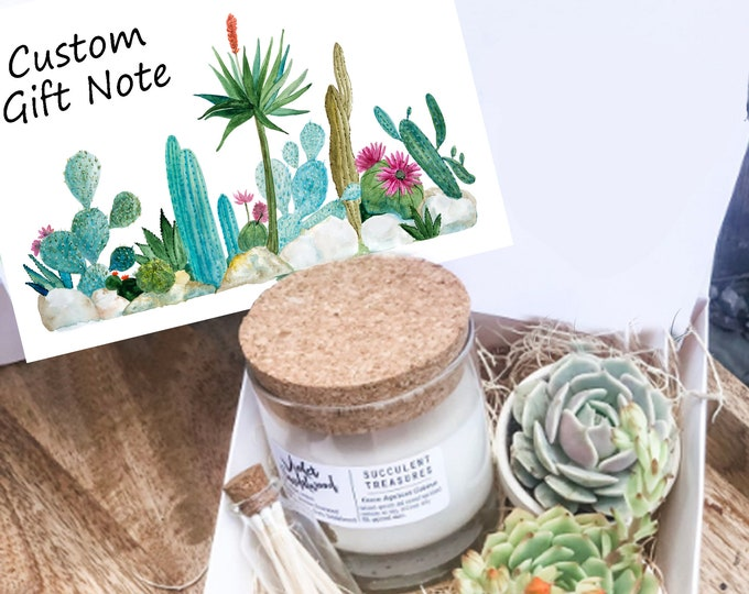 Personalized Succulent Gift Box Set |  Candle | Plant Send a Gift Customize your card