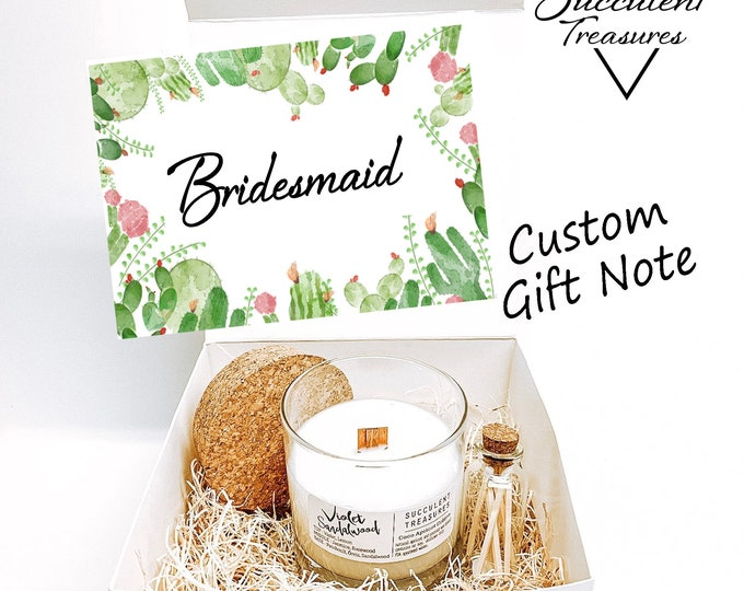 Bridesmaid Succulent Treasures Candle Gift Box |  Send a Gift | Customize Wedding Candle Box