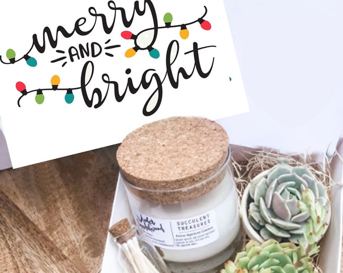 Succulent Gift Box Merry & Bright Christmas Set |  Candle | Succulent Box