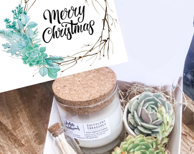 Christmas Succulent Box Set |  Candle |  Merry Christmas Succulent Box