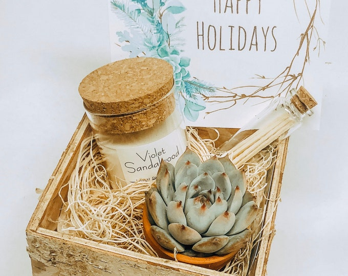 Christmas Succulent Box Gift Set |  Candle |  Live Plant Wood planter Box