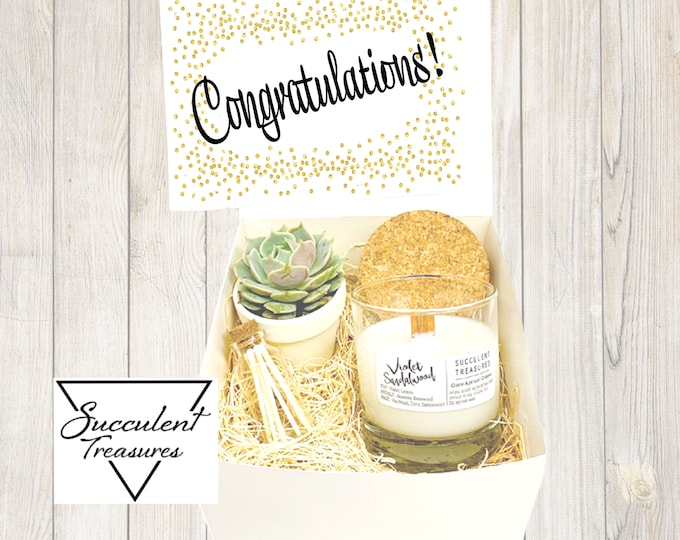 Personalized Congrats Succulent Gift Box Set |  Candle | Plant Customize Congratulations