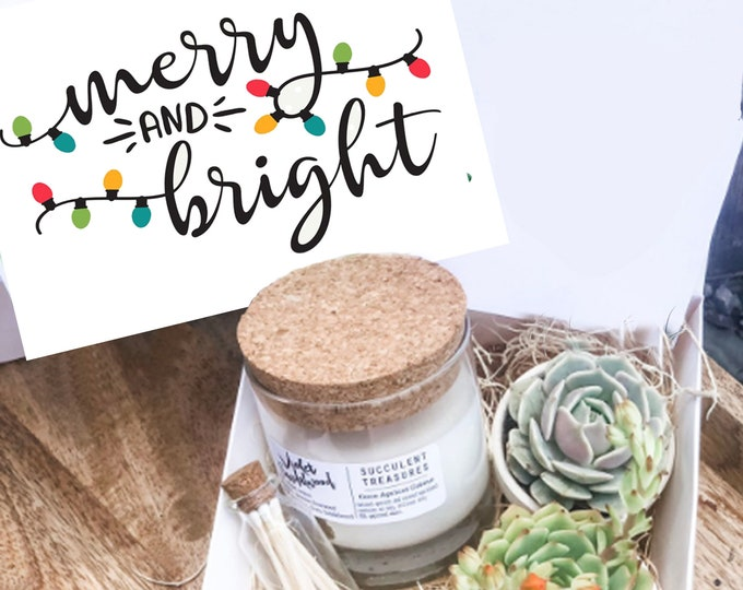 Succulent Gift Box Merry & Bright Christmas Set |  Candle | Succulent Christmas Gift