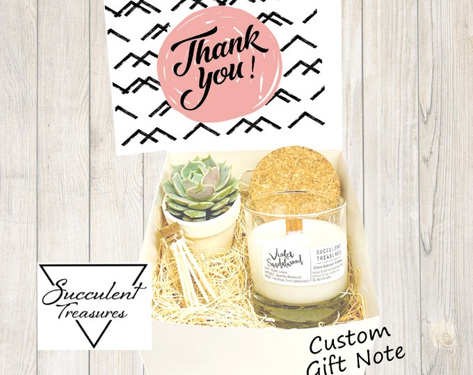 Thank you Personalized Succulent Gift Box Set |  Candle |  Custom gift basket