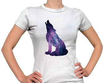 Wolf Shirt Wolves Tshirt Wolf Clothing Wolf Tee Nebula Outer Space Animal Shirt Hipster Clothes Wildlife T-Shirt Outdoors Nature Graphic