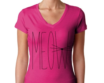 Meow Shirt - Cat Shirt - Pink Shirt - Cat Lover Gift - Kitten Shirt - Cat Tshirt - Cat T Shirt - Tumblr Shirt - Crazy Cat Lady - Cat Tee