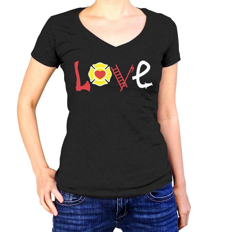 61b76c4d9 Firefighter Love Fire Fighter Wife Shirt Fireman | Etsy