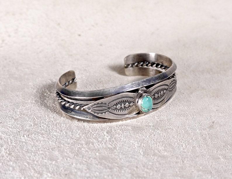 Signed Vintage Navajo Turquoise Bracelet