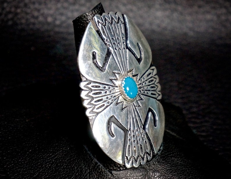 Navajo Turquoise Ring By T R Singer