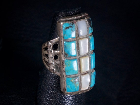 Old Pawn Navajo Turquoise Mens Ring