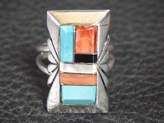 Vintage Navajo Turquoise Inlay Ring - Signed
