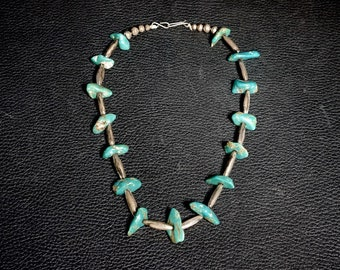 Old Pawn Navajo Turquoise & Silver Necklace