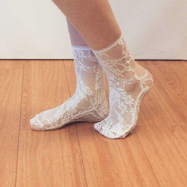 1941959441d Special Order for Ebony- WHITE lace socks - White lace socks - White socks  - Hosiery
