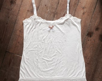 Ivory bamboo jersey tank top with ivory lace - Ivory strappy tank top