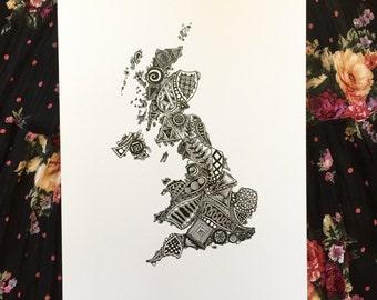 United Kingdom Outline Art Print