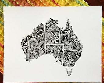 Australia Outline Art Print