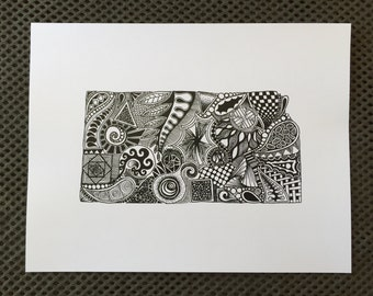 Kansas State Outline Art Print