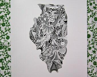 Illinois State Outline Art