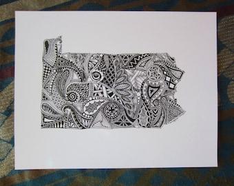 Pennsylvania Outline Art Print