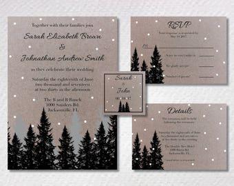 Winter Forest Wedding Invitation Suite