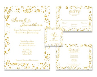 Foil Paint Splatter Invitation Suite