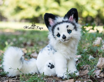 Made To Order Handmade Poseable Toy Arctic Marble Fox Fox