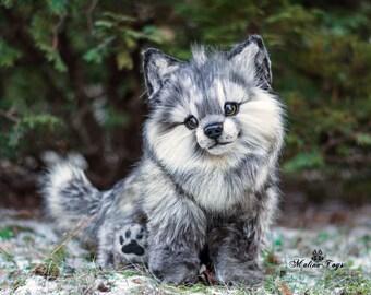 Poseable wolf cub! 100% handmade! OOAK Dolls! Poseable toy! Stuffed wolf!CUSTOM ORDER!