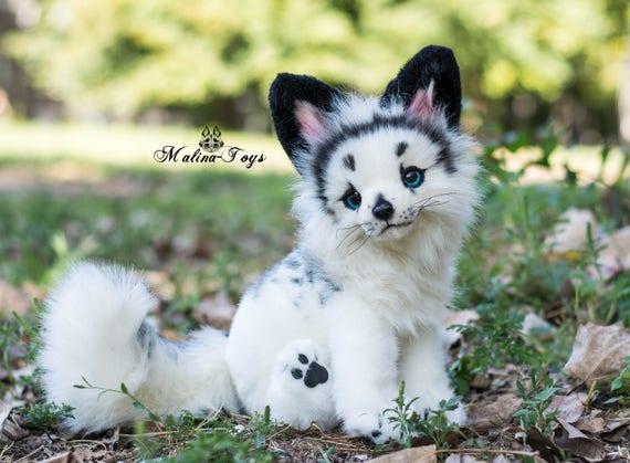 custom order handmade poseable toy arctic marble fox fox etsy
