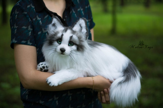 made to order handmade poseable toy arctic marble fox fox etsy
