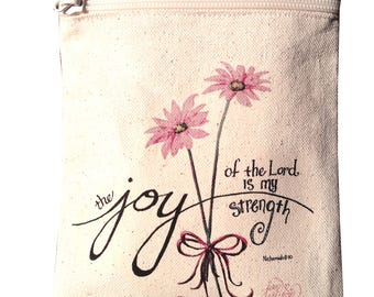 Cell Phone Purse with Joy of the Lord Bible Verse, Cotton Canvas w/Zipper, Small coin bag, small tote, FREE Starfish Pendant