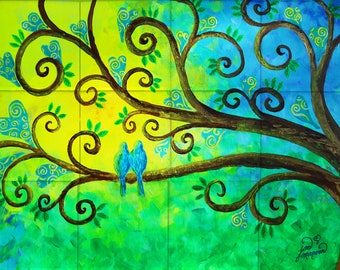 Bluebirds Tile Mural, High Quality (will not fade), Indoor or Outdoor, Beach Wall Tiles, Backsplash, Shower, Mosaic Commercial & Residential