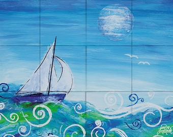 Sailing Tile Mural, High Quality (will not fade), Indoor or Outdoor, Beach Wall Tiles, Backsplash, Shower, Mosaic