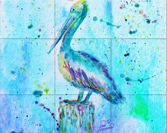 Pelican w/background Tile Mural, High Quality (won't fade), Indoor or Outdoor, Wall Tiles, Backsplash, Shower, Mosaic