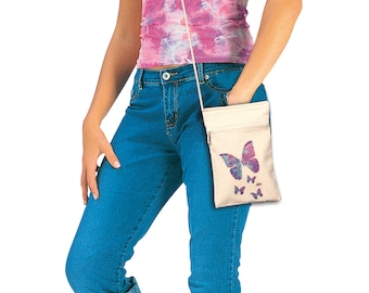 Butterflies Cell Phone Purse with zipper, Cotton Canvas, coin bag, tote, by Jan Marvin, FREE starfish pendant