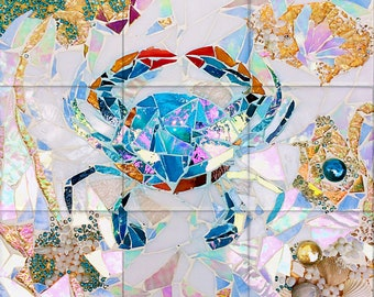 Blue Crab Mosaic Tile Mural, High Quality (won't fade), Indoor or Outdoor, Wall Tiles, Backsplash, Shower, Commercial & Residential