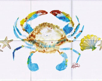 Crab and Shells Tile Mural, High Quality (will not fade), Indoor or Outdoor, Beach Wall Tiles, Backsplash, Shower, Mosaic