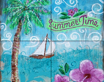 Summertime Tile Mural, High Quality (won't fade), Indoor or Outdoor, Wall Tiles, Backsplash, Shower, Mosaic, Commercial & Residential