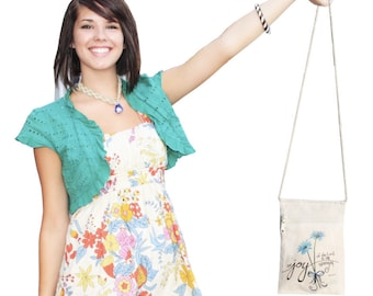 Joy of the Lord Cell Phone Purse with zipper, Cotton Canvas, coin bag, tote, by Jan Marvin, FREE starfish pendant
