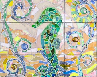 Seahorse Mosaic Tile Mural, GREEN, High Quality (won't fade), Indoor or Outdoor, Wall Tiles, Backsplash, Shower, Mosaic