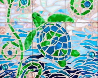 Turtle Turquoise Mosaic Tile Mural, High Quality (won't fade), Indoor or Outdoor, Wall Tiles, Backsplash, Shower, Commercial & Residential
