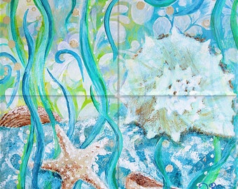 Seashells Tile Mural, High Quality (won't fade), Indoor or Outdoor, Wall Tiles, Backsplash, Shower, Mosaic, Commercial & Residential