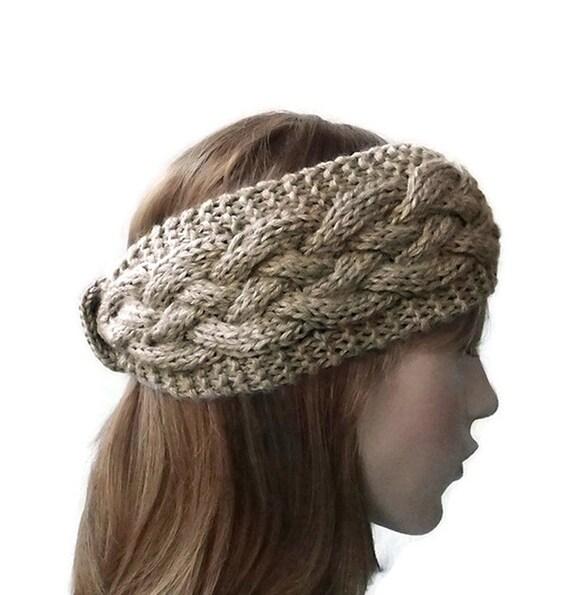 Hand stricken Stirnband in Beige dickes Kabel Strick Stirnband | Etsy