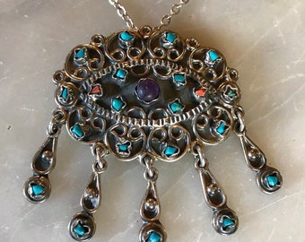 4489e45d8a34 Vintage Mexican Taxco Sterling Silver Genuine Turquoise