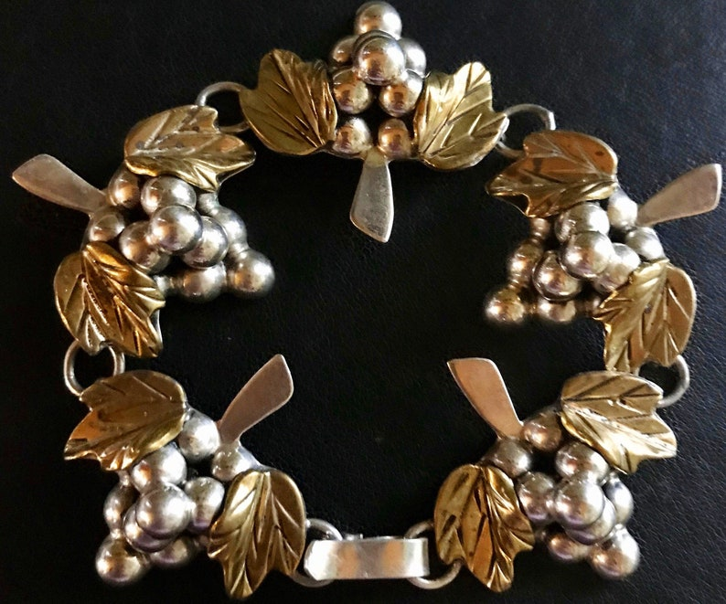 Vintage Mexican Sterling Silver Grape Cluster with Gold Gilded Leave Bracelet
