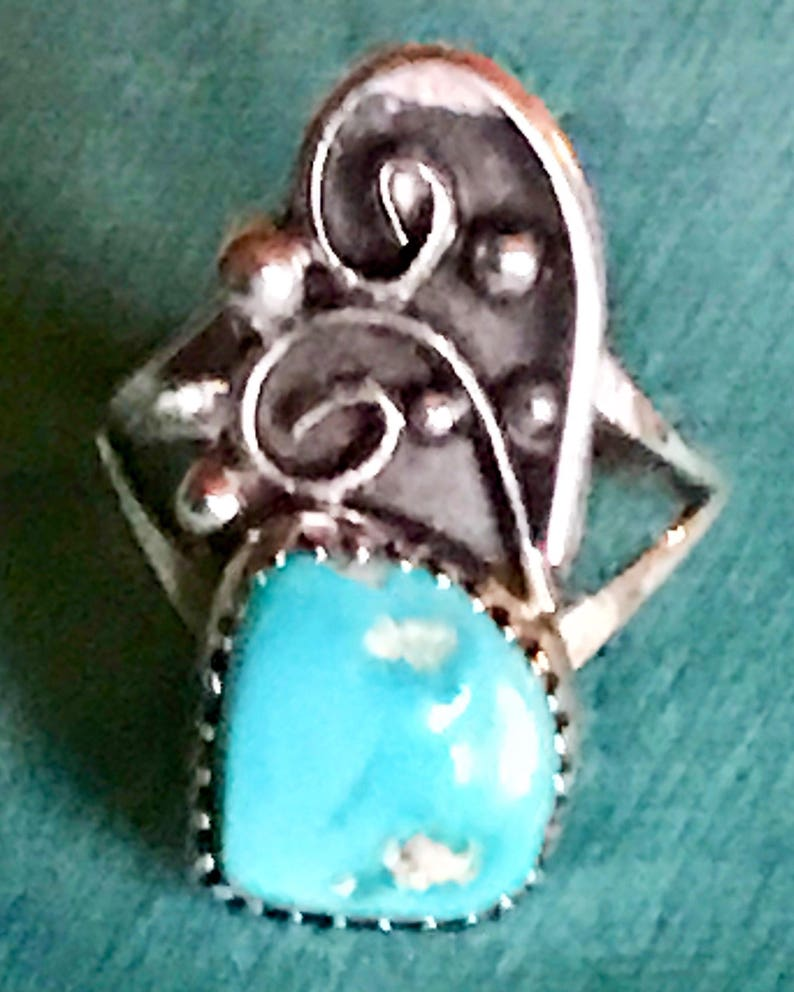 Vintage Navajo Sterling Blue Turquoise signed RM Ring  size 5 12