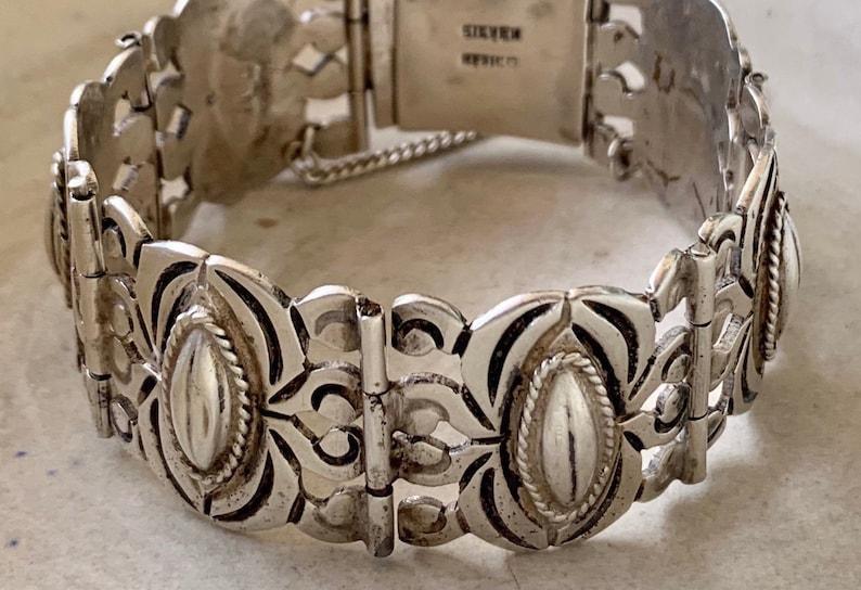 Large Vintage 1940\u2019s Mexican Sterling Silver Coffee Bean Panel Bracelet