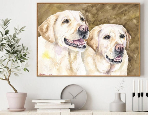 Labrador Print Watercolor Black Lab Funny Retriever,Police Officer Gift,Dog