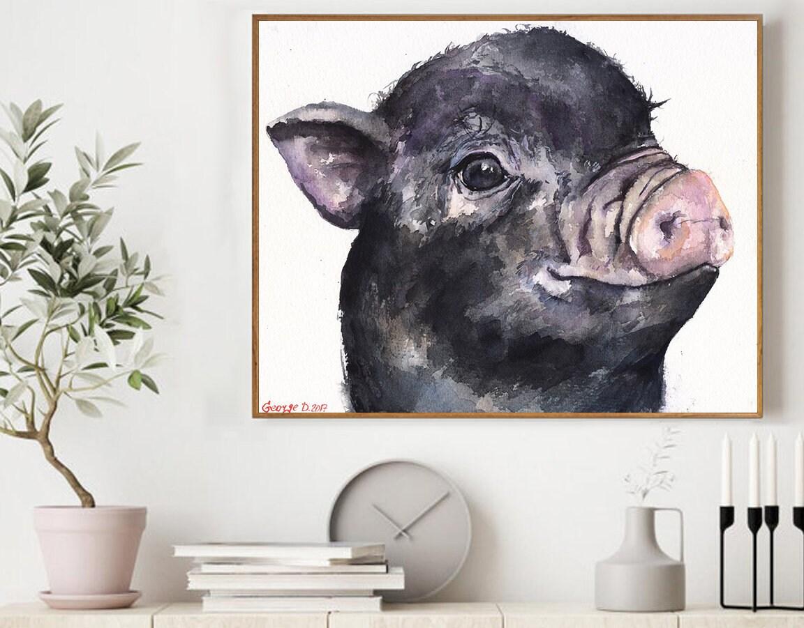 Cute Pig Pig Sign Watercolor Farm Animal Simple Pig Print Pink watercolor Pig Sign Vegan gift Rustic Home Decor Watercolor Pig Print