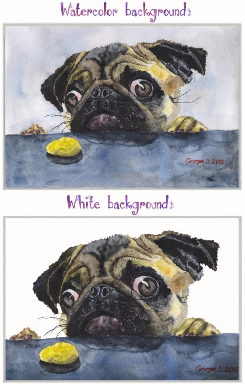 Pug watercolor Print of the Original Watercolor Painting art Sherlock fancy