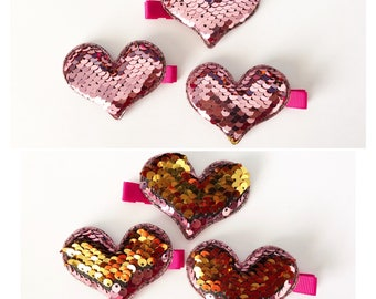 Multi Colored Reversible Sequence Heart Hair Clip Barrettes by Wee Kings
